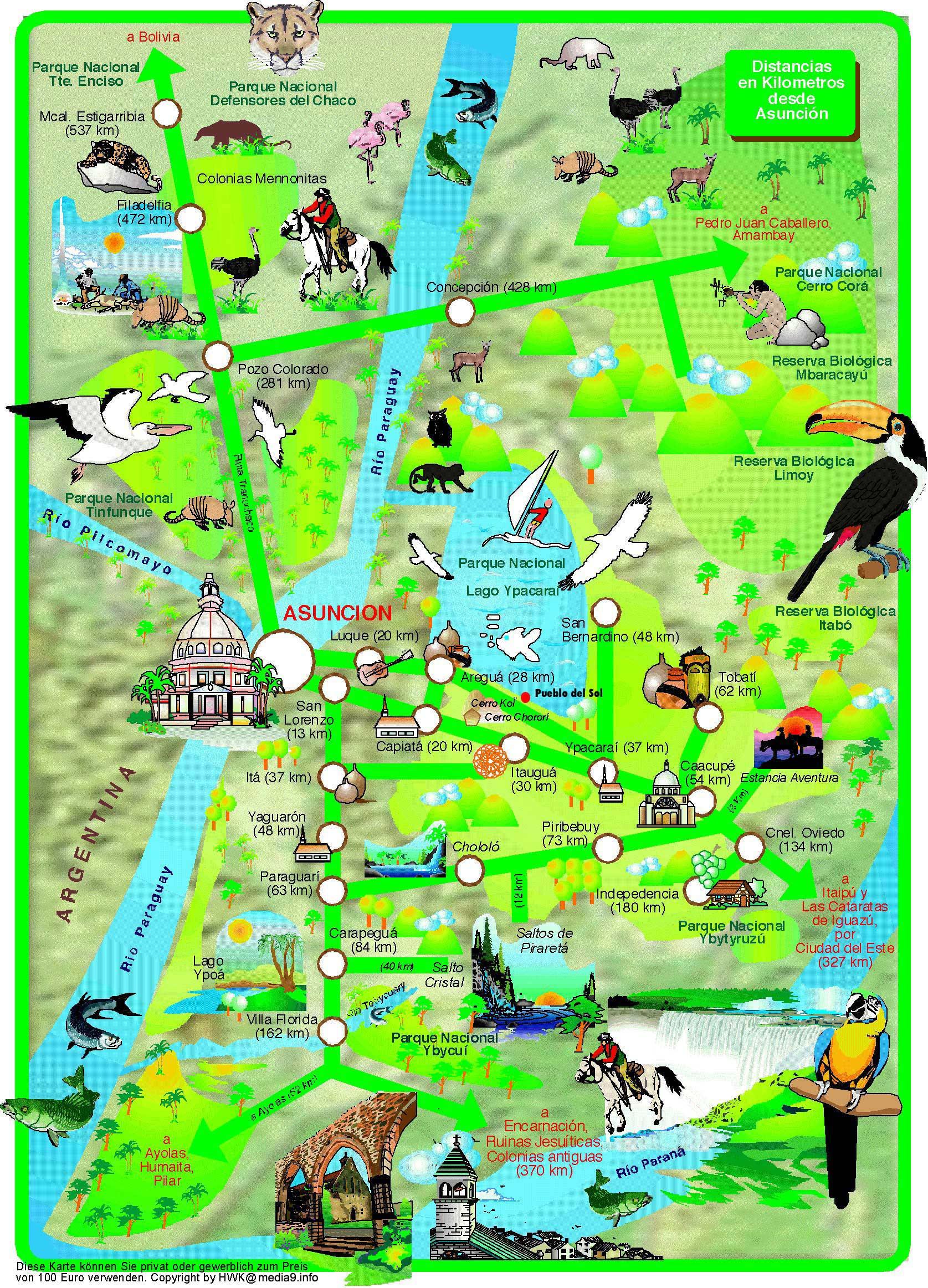impressum - map of paraguay